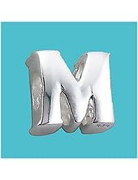 Cuenta plateada con diseño de letra M, auténtica, sello de plata de ley 925, cuenta con diseño de letra, para pulsera y cadenas