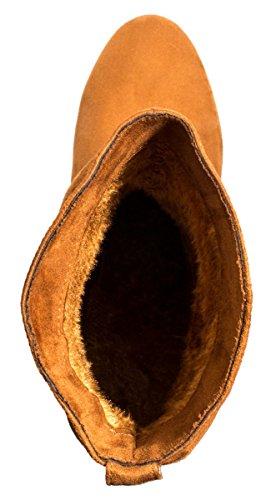 Elara Damen Schlupfstiefel | Bequeme Klassiche Stiefeletten | Flache Boots Camel New