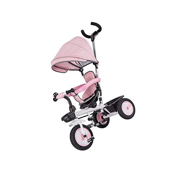 LRHD Children's Tricycle 4-in-1 Baby Tricycle, Safety Belt, Adjustable Push Handle, Detachable Ceiling, Retractable Pedal, Lockable Pedal, Detachable Guardrail, Birthday Present for Children LRHD 1. 4-in-1 tricycle: easy to switch between the four modes and easy to disassemble and install all components. This tricycle can grow up with a child aged 10 months to 5 years old, which is a rewarding investment for your child's childhood. Our four-in-one tricycle will be one of your children's fond memories of childhood. 2. Convenient for parents: when children cannot ride independently, parents can easily use the push handle to control the steering and speed of the tricycle. The height of the push handle can be adjusted to meet the different needs of parents. The push handle is also detachable, allowing children to enjoy free rides. 3. Ensure safety: Considering the safety of children when using, we have made many detailed safety designs. There is a detachable sponge guardrail on the seat, which can also be opened to let children get on the bus. The additional vertical safety belt can not only prevent the child from falling down, but also cover the button to avoid injury to the child. 3
