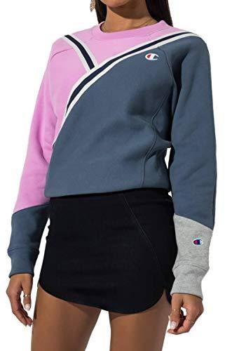Champion Color Blocked Chevron Retro Varsity Crew Neck Sweatshirt