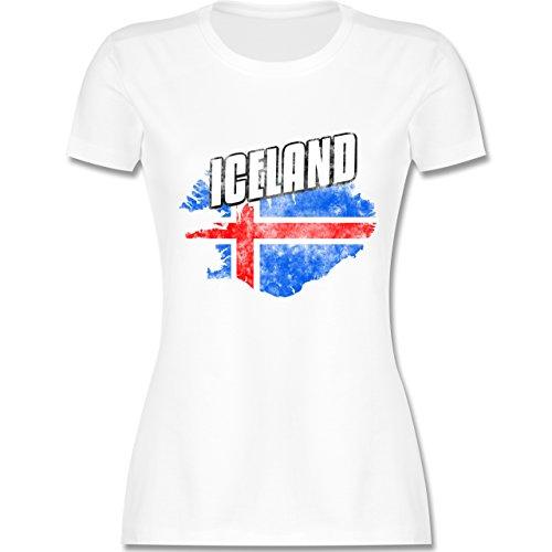 EM 2016 - Frankreich - Iceland Umriss Vintage - tailliertes Premium T-Shirt mit Rundhalsausschnitt für Damen Weiß