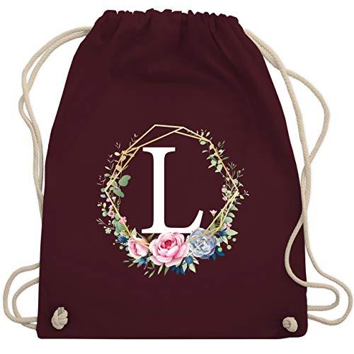 Anfangsbuchstaben - Blumenkranz mit Buchstabe L - Unisize - Bordeauxrot - WM110 - Turnbeutel & Gym Bag