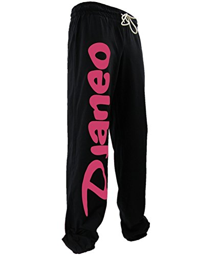 Pantalon Jogging coton Djaneo Rio Homme et Femme pour le sport Noir et Rose Taille L
