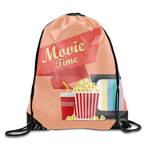 uykjuykj Tunnelzug Rucksäcke, Movie Time Unisex Drawstring Gym Sack Sport Bag for Girls Boys Movie time10 Lightweight Unique 17x14 IN