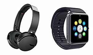 MIRZA Extra Extra Bass XB450 Headphones & GT08 Bluetooth Smart Watch for MICROMAX CANVAS DOODLE(XB 450 Headphones,With MIC,Extra Bass,Headset,Sports Headset,Wired Headset & Bluetooth GT08 Smart Watch Wrist Watch Phone with Camera & SIM Card Support Hot Fashion New Arrival Best Selling Premium Quality Lowest Price with Apps like Facebook, Whatsapp, Twitter, Sports, Health, Compatible with Android iOS Mobile Tablet-Assorted Color)