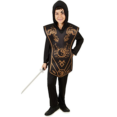 Erwachsene Für Elf Kostüme Krieger (Jungenkostüm Ninja | Cooler Jumpsuit | Für jeden Jungen geeignet, der sich für die asiatischen Kampfkünste begeistert | Inkl. bedruckten Überwurf (11-12)