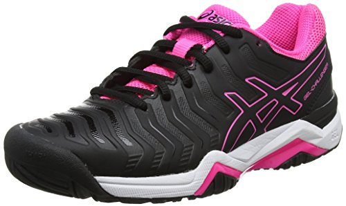 Asics Damen Gel-Challenger 11 Tennisschuhe, Schwarz (Black/Black/Hot Pink 9090), 40.5 EU