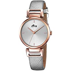 Lotus Women's Quartz Watch with Silver Dial Analogue Display and Silver Leather Strap 18229/1
