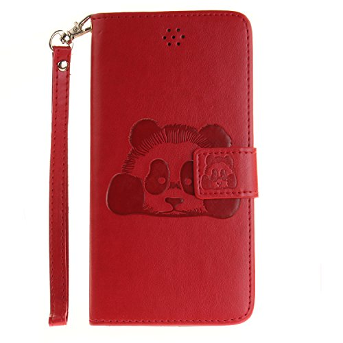 """Für iPhone 7 Plus 5.5"""" Gurt Strap Magnetverschluß Ledertasche Hülle,Für iPhone 7 Plus 5.5"""" Premium Seil Leder Wallet Tasche Brieftasche Schutzhülle,Funyye Stilvoll Jahrgang [Niedlicher reizender Panda Panda,Rot"""