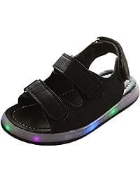 Juleya Las sandalias de los niños de Prewalk del LED encienden para arriba los zapatos de la sandalia de la playa negro Size 23
