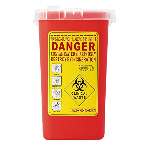 Tattoo Medical Plastic Sharps Container Biohazard Needle Disposal 1L Size Waste Box for Infectious Waste Box Storage -