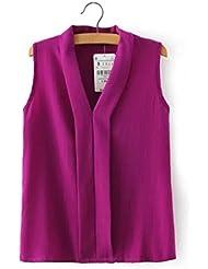 QHGstore Blusas de gasa del verano del cuello de las mujeres de las camisetas sin mangas lindas de las blusas de la gasa del verano púrpura L