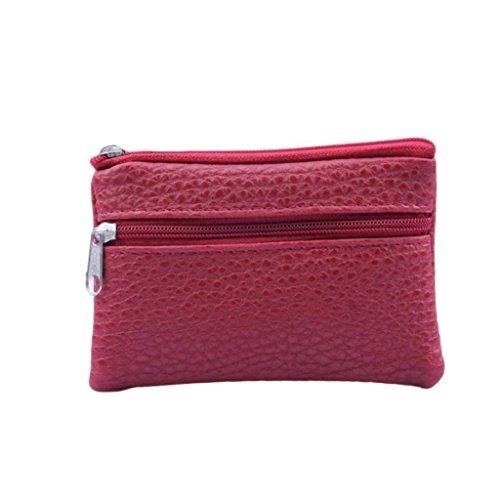 Rovinci Unisex Einfache Mode Handtasche Lange Brieftasche Geldbörse Kartenhalter Große Kapazität Geldbeutel Portemonnaie Portmonee Täschchen Tasche mit Doppel Reißverschluss (Rot)