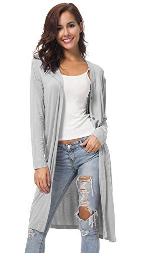 Urban GoCo Damen Open - Front Cardigan Strickjacke Long Langarmshirt (M, Light Grey)