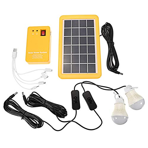 Majome 3W Solar Power Panel Generator mit 2 LED-Lampen USB-Ladegerät Garten im Freien -