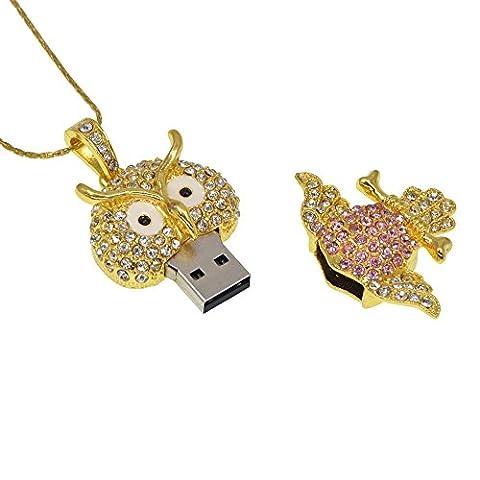 Datarm 64GB Speicherstick USB Stick 2.0 Neuheit Eule Anhänger Kristall Halskette Geschenk