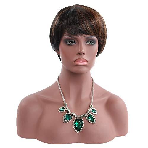 Kurze Bob-Perücken, Brasilianisches echtes Haar 11 Zoll, mit Stirn fransen kurz glattes Haar, für Frauen