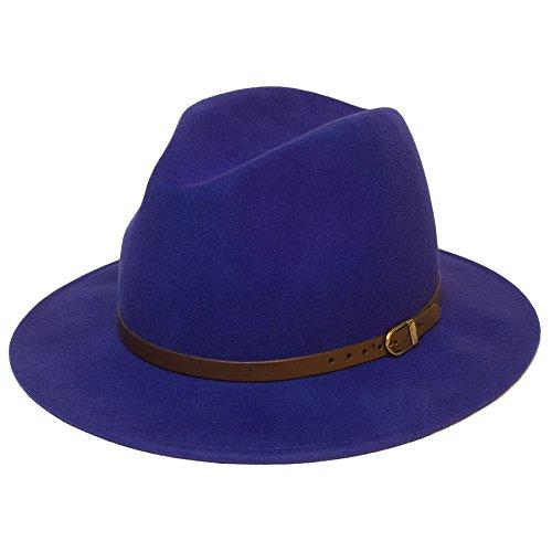 Hommes/Dames/Femmes Plaine Panama Fedora Trilby Chapeau/Capuchon Nouveau blue