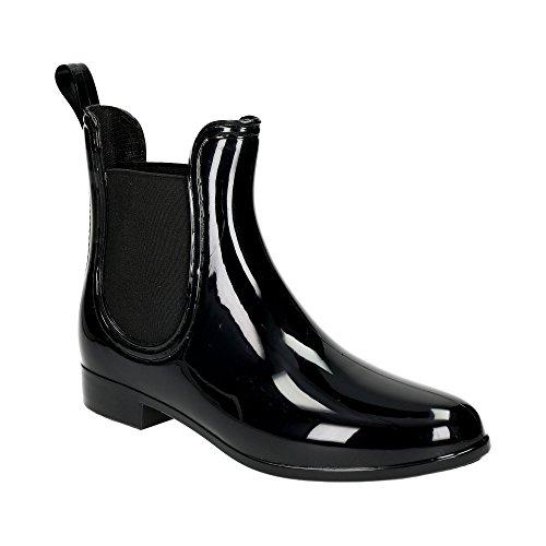 Damen Chelsea Schlupf Stretch-Einsatz Regen Boots Gummi Glitzer Stiefeletten Lack Stiefel Freizeit Schuhe Schwarz