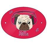 Eurofoto Türschild mit Namen Milla und Mops-Motiv mit Kopfhörer und Schleife in Pink für Mädchen | Kinderzimmer-Schild