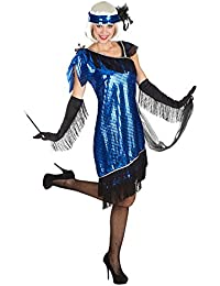 Charleston 1920s Complete Costume Blue 3-Piece Sequin Dress Headband Scarf