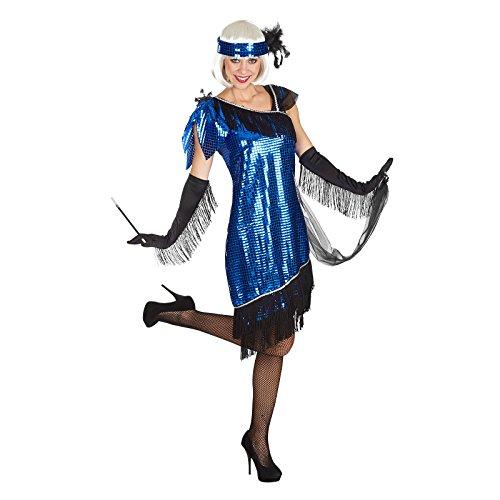 Charleston Zwanziger Jahre Komplett Kostüm Damen 3tlg Pailetten Kleid Stirnband Schal blau - 40/42 (Charleston Kostüm Frauen)