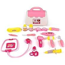 TurnRaise Cuadro Médico Conjunto Enfermera Médico Kit Parque Infantil para Niños - Fingir Juego Herramientas Juguete Set 15 Piezas (Rojo)