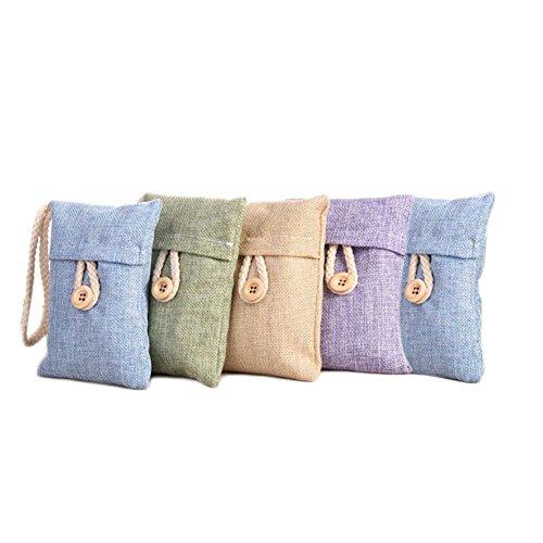 Flyingsky - 5 paquetes de bolsas de carbón de bambú para quitar el olor de lino y carbón vegetal con ambientador y purificador de bolsas, eliminador de olores para coche, casa, zapatero, armario, color al azar