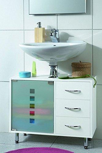 Galdem Waschbeckenunterschrank mit 3 Schubladen Glastür Bad Möbel Badschrank Gäste WC Gästebad Waschtisch Unterschrank Holz Weiß