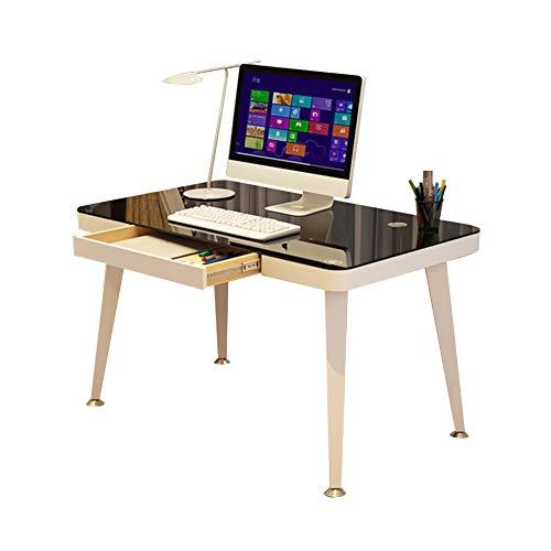 Glas-büro, Konsole-tabelle (Bseack Tabelle Abnehmbarer Computertisch, Tischplatte aus gehärtetem Glas Verstellbarer Fuß Mit Schublade Einfache Montage Household Simple Desk, 3 Größen (größe : 100 * 50cm))