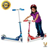 3 Wheel Height Adjustable Folding Scooter For Kids By Cora,with Bell And Led Lights On The Wheel ,heavy Metallic Adjustable Scooter (multicolour) Colour May Vary