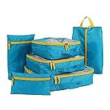 Juego de organizador de equipaje Weekender 6PCS Cubos de embalaje a prueba de agua, conjunto de valores para bolsas de compresión, bolsas de compresión, bolsas de compresión para equipaje de viaje (Co