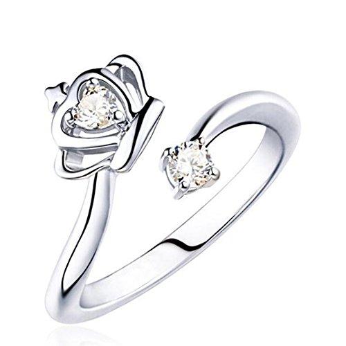 ing Silber Ton Valentine Lieben Paar Paare Hochzeit Engagement Verlobungsringe Verlobung für Frauen und Mädchen ,Krone Platin (Valentine Paar Outfits)