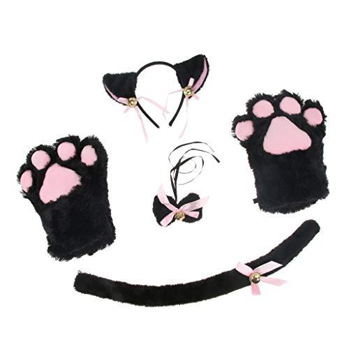 Baoblaze Katze Cosplay Set Plüsch Handschuhe Kätzchen Ohr -