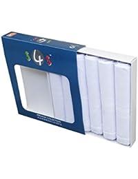 S4S Men's 100% Cotton Premium Collection Handkerchiefs - Pack of 6 (White_46X46 CM)