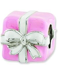 Plata de ley reflexiones de color rosa y blanco esmaltado del grano del encanto del regalo - JewelryWeb