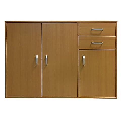Redstone Beech Sideboard Cupboard - 3 Doors + 2 Drawers - Wooden Cabinet Chest Unit