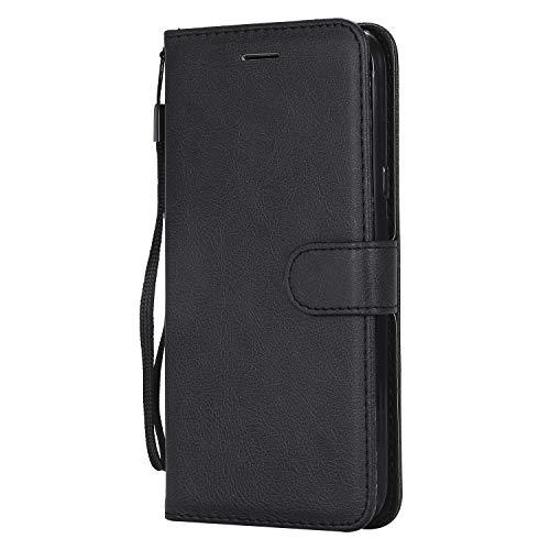 Lomogo [LG X Power 2] Hülle Leder, Schutzhülle Brieftasche mit Kartenfach Klappbar Magnetverschluss Stoßfest Kratzfest Handyhülle Case für LG X Power2 (LGM320N) - LOKTU23614 Schwarz