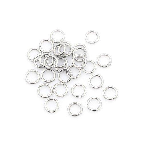 Paket 110+ Silber 304 Edelstahl 1 x 4mm Binderinge Ösen - (Y00110) - Charming Beads (ösen 1 4)