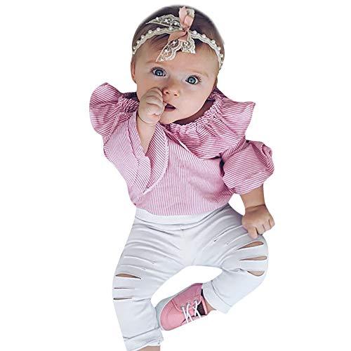 wuayi  Baby Mädchen Kleidung Striped Strampler zerrissene Hosen 0-24 Monate