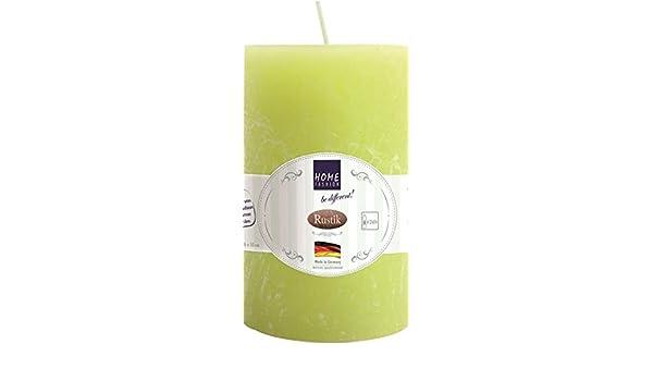 Limette /Ø 6cm H/öhe 10cm Kerze Stumpen Rustik lime