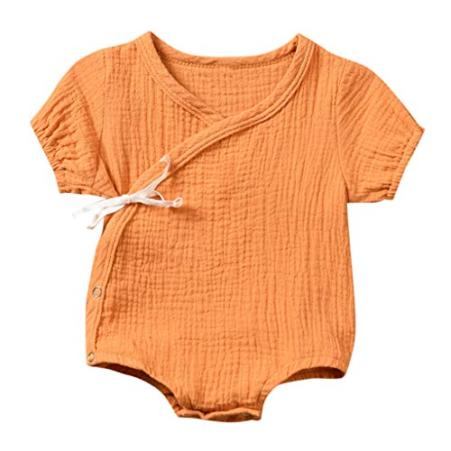 Julhold Neugeborenes Baby Mädchen Jungen Freizeit Atmungsaktive Feste Kimono Strampler Body Kleidung Outfits 0-2 Jahre