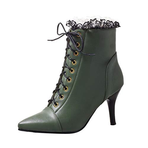 LuckyGirls Botas con Tacón de Mujer Encaje Moda Botine Botina Zapatillas Casuales Calzado Zapatos con Cordones y Cremallera (Verde,EU41)