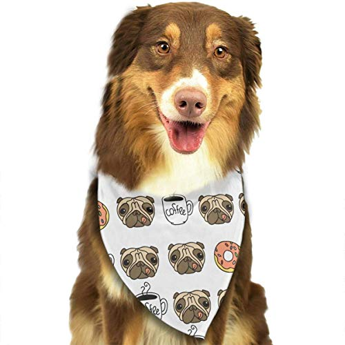 (Dog Bandana Funny Dogs Pug Puppie Donut Coffee Pattern Pet Scarf Triangle Bibs Kerchief Set Pet Costume Accessories Decoration for Small Medium Large Dogs Cats Pets)