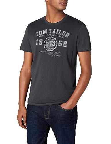 TOM TAILOR Herren logo tee T-Shirt, Grau (tarmac grey 2983), S -