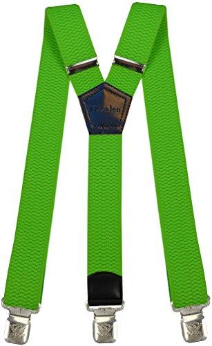 Hosenträger für Herren breit extra starken 4 cm mit 3er Clips Y-Form lange für Männer und Damen Hose alle Farben (Neongrün) (Hose Hosenträger Aus)