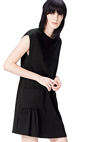 FIND Vestido Corto con Bolsillos de Plastón para Mujer , Negro (Black),...