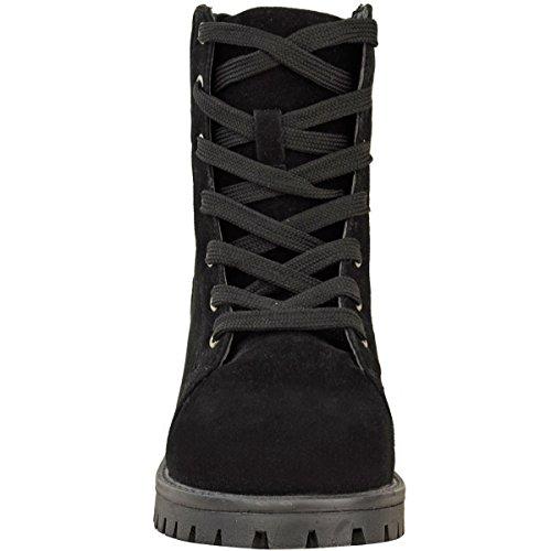 Femmes Bottines Pour Femmes Lacet Militaire Travailleur Célébrité Armée Chaussures Pointure Noir Daim Synthétique