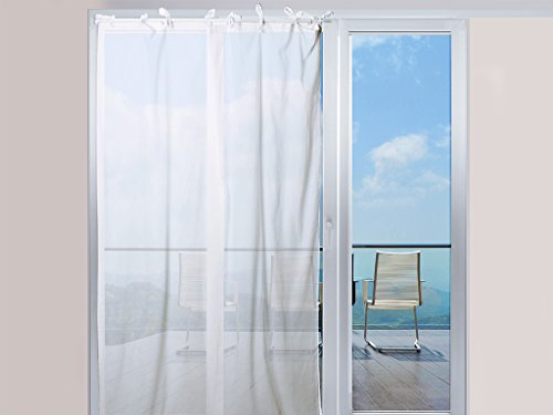 Tenda in voile di cotone conlaccetti 140x240 cm panama bianco