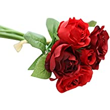 Ineternet 1 Bouquet 7 têtes Plastique et soie Simulation Rose Héritage de mariée Maison Jardin DIY Décoration de mariage fleurs artificielles Bouquet (Rouge)